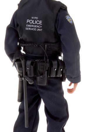 plastic toy police officer doll with gun belt fom the back