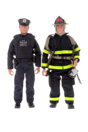 a fireman and a police man toy dolls