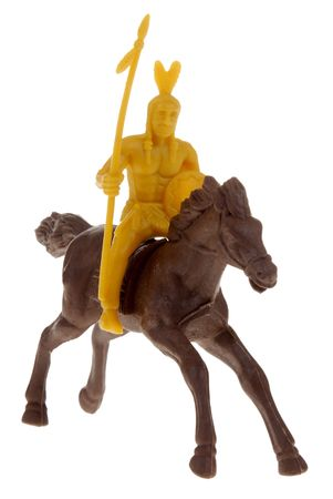 plains indian: plastic toy indian on horse Stock Photo