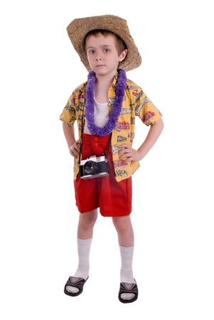 sandels: young boy dressed as a funny tropical tourist, isolated over white