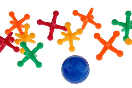 collectable: colorful game of jacks and a ball