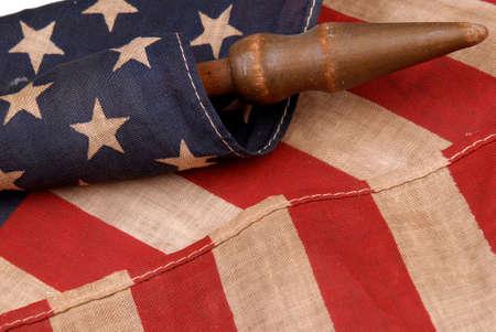 detail of a vintage american flag