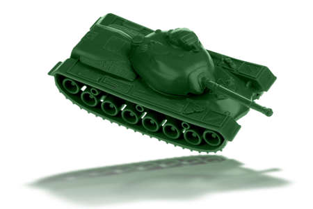 isolation tank: vintage plastic toy tank with reflection isolated over white