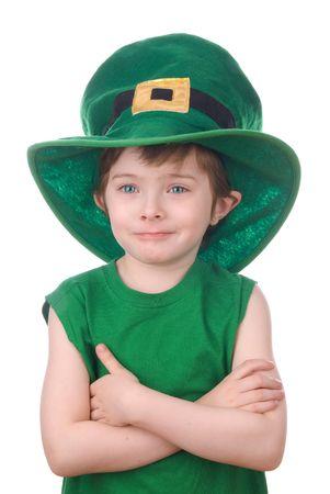 Happy young leprechaun boy wearing a humorous Saint Patrick's Day hat. Stock Photo - 2115478