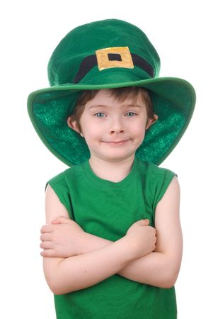saint patricks: Happy young leprechaun boy wearing a humorous Saint Patricks Day hat.
