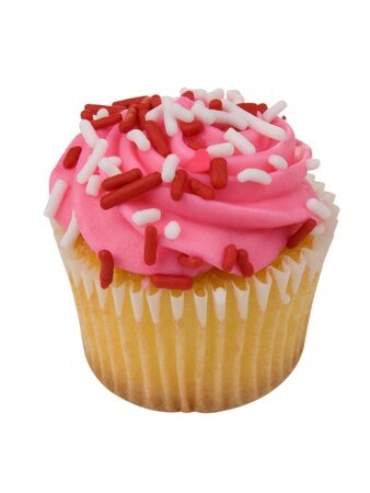sprinkle: single pink cupcake with red and white sprinkles on white
