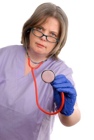 Female doctor with focus on stethescope isolated over white