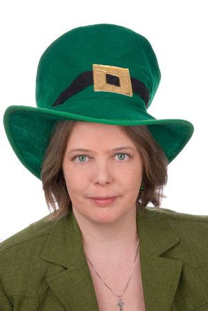 colleen: Irish woman with green outfit,hat and green eyes isolated over white Stock Photo