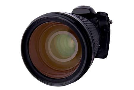 白で分離したデジタル一眼レフ カメラ 写真素材