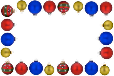 Christmas balls forming a frame shape isolated over white Stock Photo