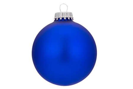 Blue Christmas ball with gold top isolated over white  Stock Photo