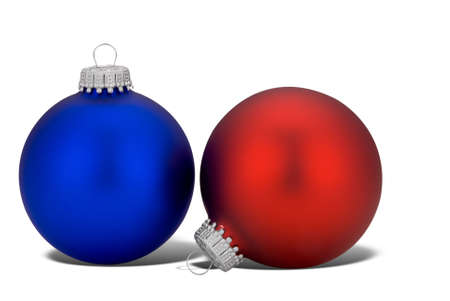 Red and blue Christmas balls with shadow isolated over white Stock Photo