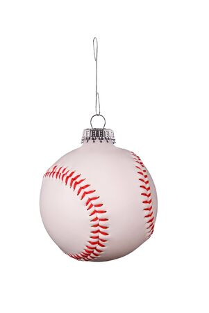 Baseball hloiday ornament on a metal hook isolated over white