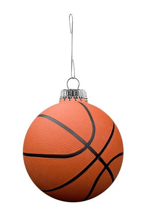 Basketball  ornament on a metal hook isolated over white