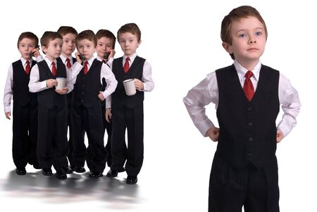visionary: Handsome attractive young boys dressed in suits with a cell phones and coffee cups in hands led by a visionary isolated on white background.