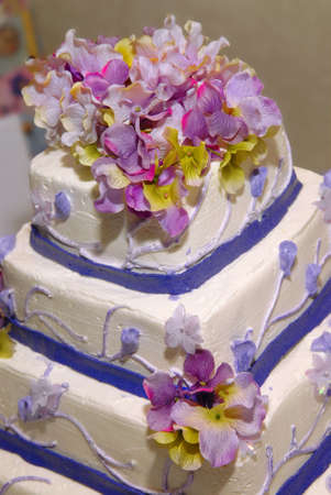 A blue,pink and white wedding cake with roses on top. Shallow depth of field with a very blurry background photo