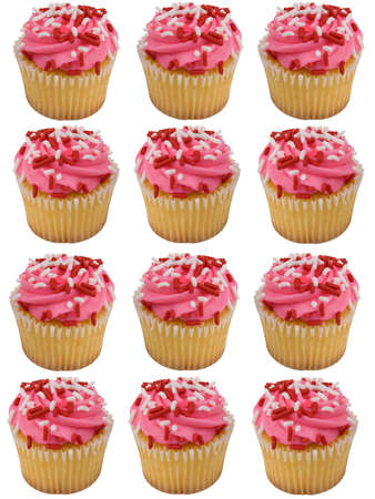 hundreds and thousands: Pink cupcakes with red and white sprinkles isolated over white Stock Photo