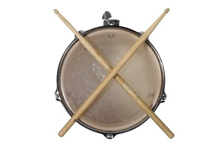 snare: close up top view of a snare drum with drum sticks Stock Photo