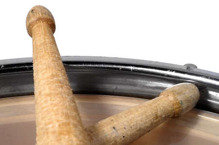 close up top view of a snare drum with drum sticks Stock Photo