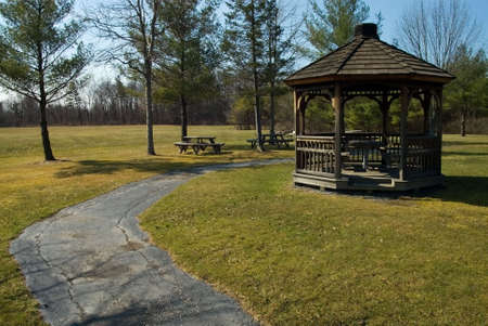 old time: old time park and a path with a gazebo Stock Photo