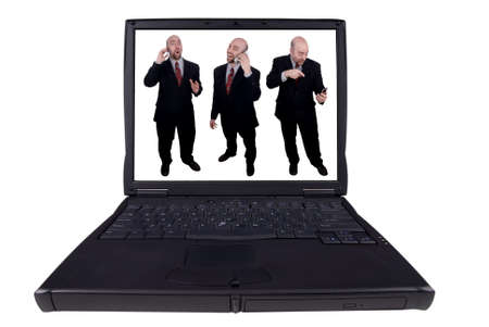 laptop computer with business men with funny expressions isolated on a white background  photo