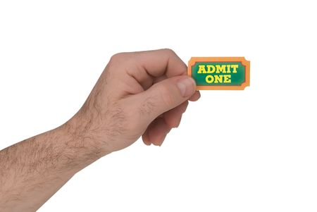 carny: Close-Up of green,yellow and orange General Admission Ticket in a mans hand isolated over a white background