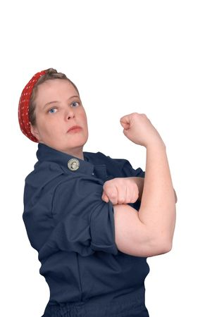 photo re make of Rosie the riveter fron world war 2, with clipping path