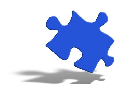 Blue puzzle piece floating over white Stock Photo - 2120026