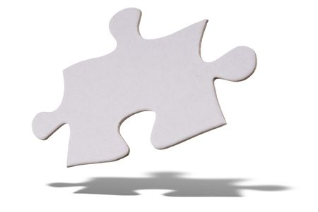 apart: White puzzle piece floating over a white background