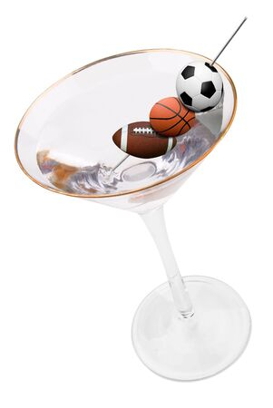 consume: martini and olives made from a soccer,basketball and football isolated on white background