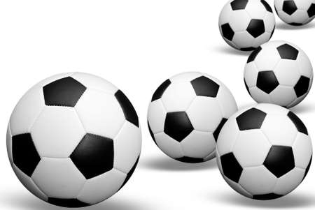 Soccer balls with shadows isolated over white Banco de Imagens