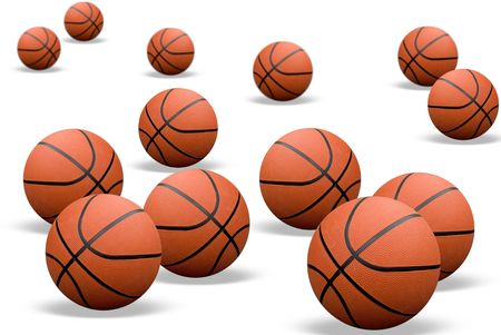 Basketballs with shadows isolated over white