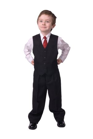 confident handsome attractive young boy dressed in suit looks off to his bright future on white background. Stock Photo - 2120089