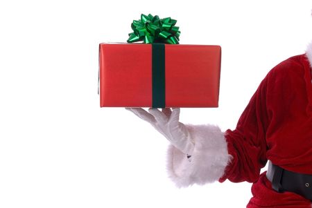 st nick: Santa Claus with present in his white gloved hand Stock Photo