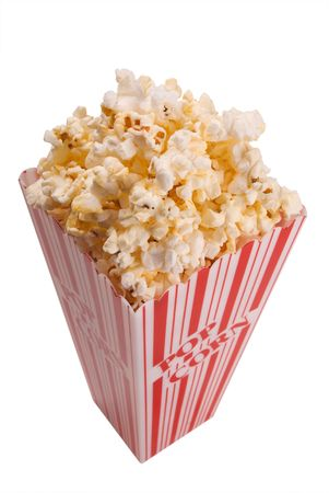 basic food: popcorn from top isolated over white