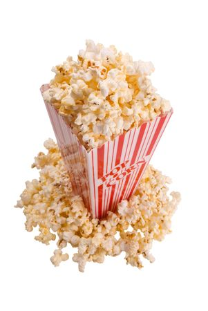 basic food: popcorn from side isolated over white