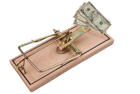 US paper money and a Mousetrap, concept of financial trap photo