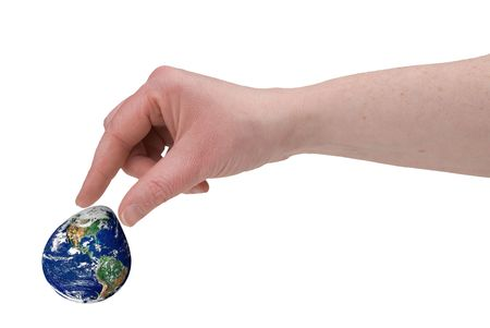 Womans fingers piching the earth with fingers over a white background
