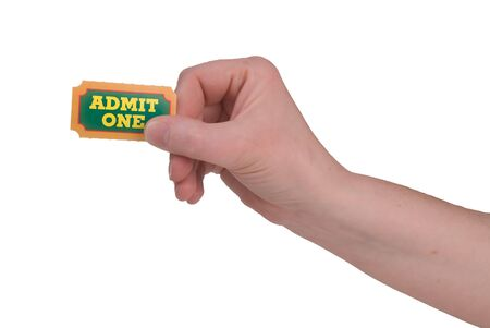 carny: Close-Up of green,yellow and orange General Admission Ticket in a womans hand isolated over a white background Stock Photo