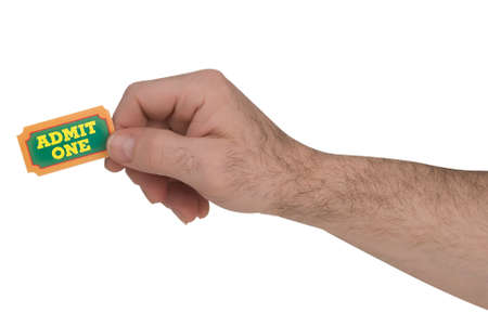 carny: Close-Up of green,yellow and orange General Admission Ticket in a mans hand isolated over a white background with a clipping path