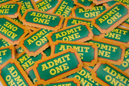 carny: Close-Up of green,yellow and orange General Admission Tickets