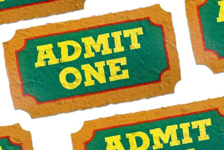 carny: Close-Up of green,yellow and orange crumpled General Admission Tickets isolated over a white background