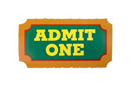 carny: Close-Up of green,yellow and orange General Admission Ticket isolated over a white background Stock Photo