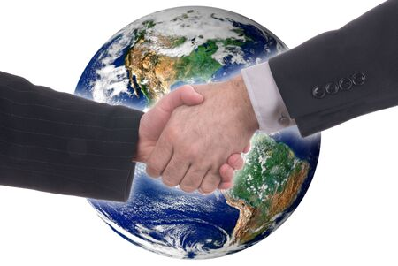 business handshake in front of a globe of the western world isloated on a white background photo