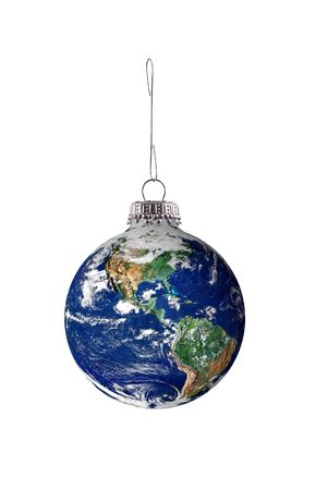 global economy: Earth hloiday ornament on a metal hook isolated over white Stock Photo