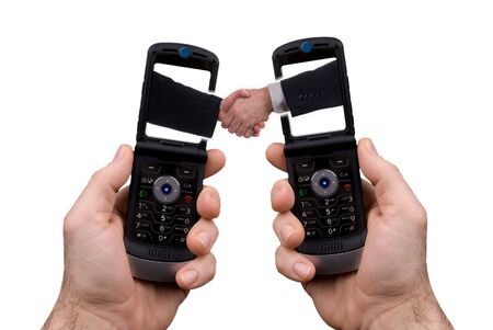 Cell phone Handshake isolated over white