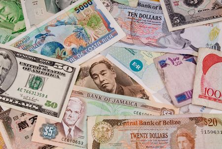 assorted international paper money close up Stock Photo