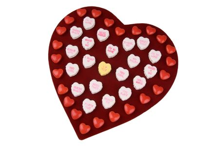 customs and celebrations: Chocolate valentine heart box with candy hearts Stock Photo