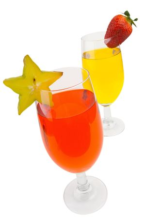 garish: orange and yellow cocktails with a star fruit and strawberry garish isolated on white  Stock Photo