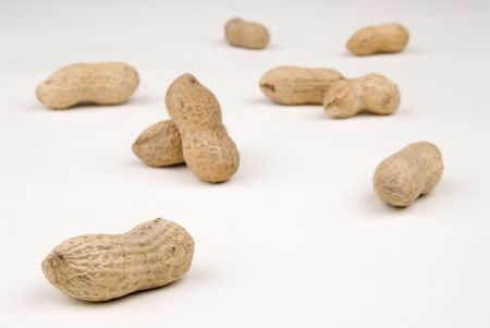 allergic ingredients: Peanuts on a white background